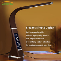 WoodPow Eyes Protect LED Desk Lamp Battery Rechargeable Dimmable Desk Light Touch Sensor Table Lamps Cold/Warm Light Table Lamp