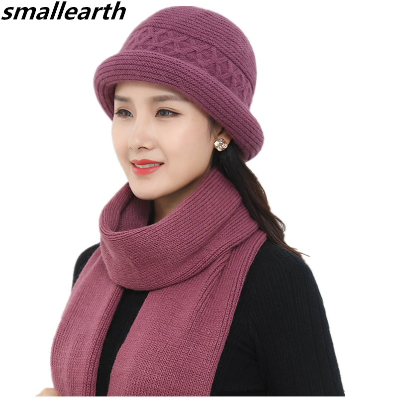 Women Winter Hat Sets Wool Mixed Rabbit Fur Warm Knitted   Skullies     Beanies   Baggy Headwear Female Ladies Cap Scarves Set Mom Hats