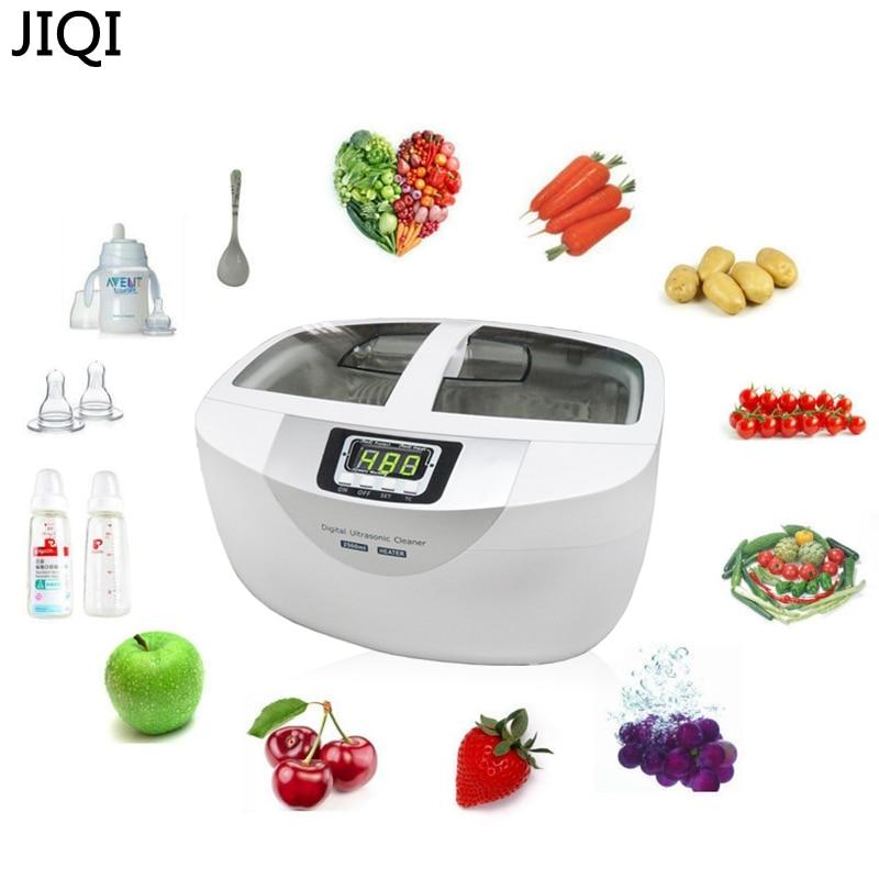 все цены на JIQI 2.5L 60W 40kHz Ultrasonic Digital cleaner Baskets Jewelry Watches Dental Heating Mute Ultrasonic Vegetable Cleaner bath онлайн