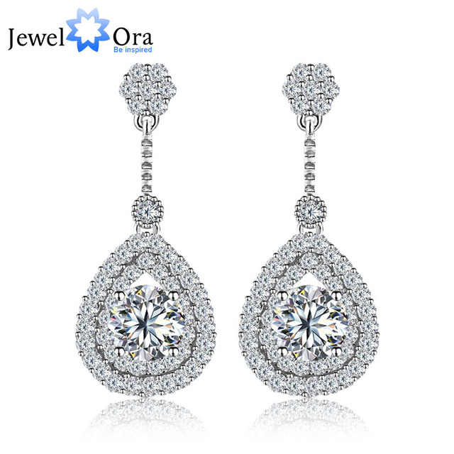 Wedding Charming Cubic Zirconia  Earrings Elegant Jewelry rhodium plated Lady Drop Earrings For  Women (JewelOra  EA101332)