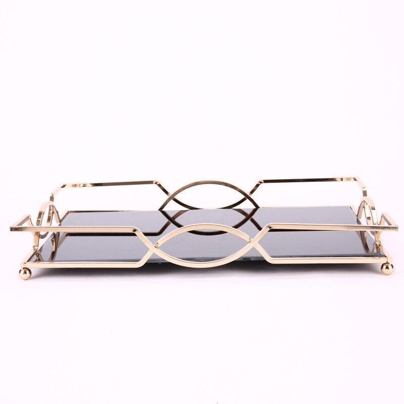 Plateau miroir en métal Simple et créatif | De haute qualité plateau rectangulaire modèle chambre hôtel salle de bain bureau plateau de rangement - 5