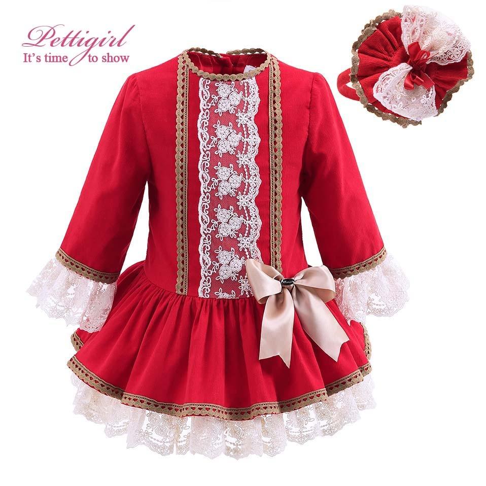 ФОТО Pettigirl New Autumn Red Girls Dress With Lace And Handmade Headwear Vintage Kids Dress Bontique Children Clothing G-DMGD908-893
