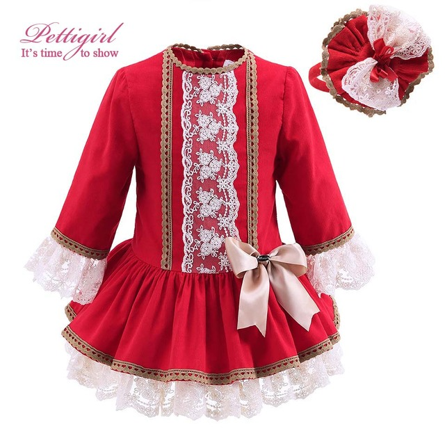 Pettigirl New Autumn Red Girls Dress With Lace And Handmade Headwear Vintage Kids Dress Bontique Children Clothing G-DMGD908-893