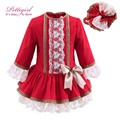 Pettigirl nuevo otoño niñas vestido rojo con encaje y vestido de los cabritos headwear hecho a mano de la vendimia ropa bontique niños g-dmgd908-893