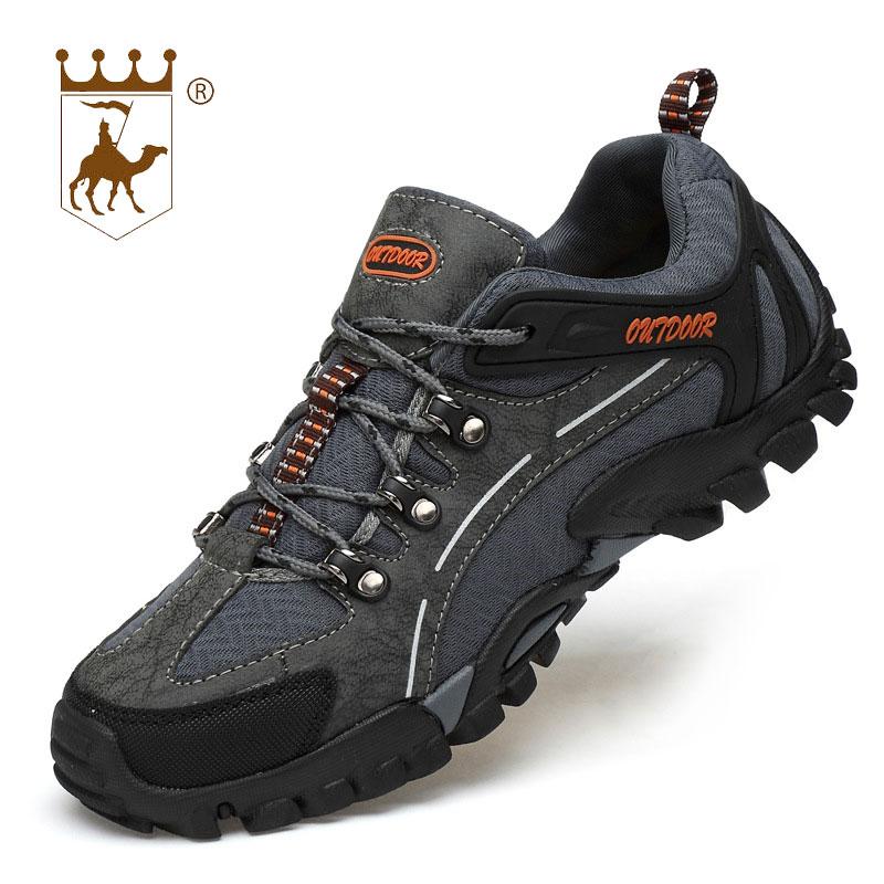 BACKCAMEL 2018 העפלה Mens עור נעלי מוקסינים רך חיצוני הנעלה לנשימה ללבוש עמיד תחרה נעלי גופר