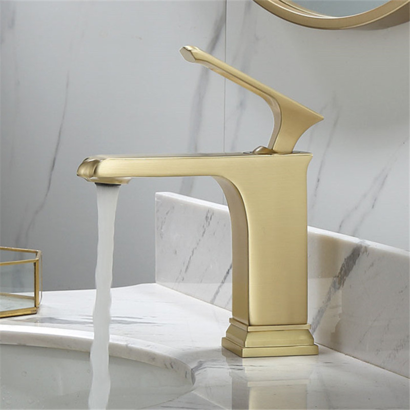 Bathroom Basin Faucets Total Brass Hot and Cold Sink Mixer Tap Single Handle Bathroom Crane Rotating Tap Brushed Golden FaucetsBathroom Basin Faucets Total Brass Hot and Cold Sink Mixer Tap Single Handle Bathroom Crane Rotating Tap Brushed Golden Faucets