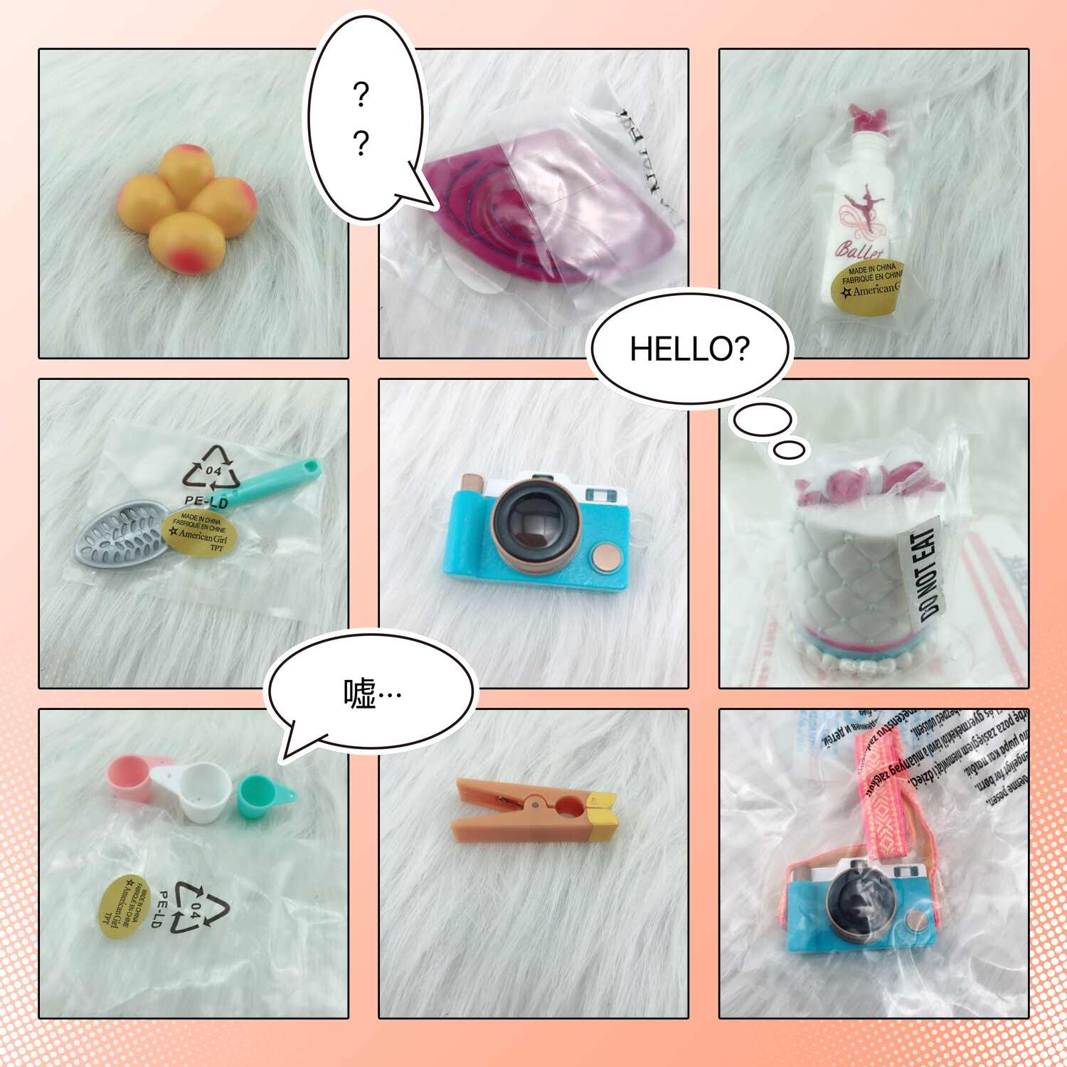 b8a4717136a Accessories for American girl dolls accessories camera fan cake food play  house toys gift for girl