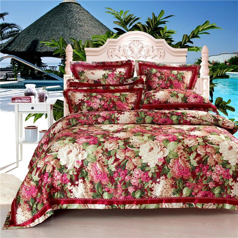 Высокое качество 4 шт. постельных принадлежностей простыней домашний текстиль комплект постельного белья сатин-жаккард постельное белье о...