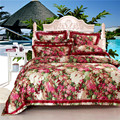 Top quality 4pcs bedding set bed sheet home textile bedding set satin jacquard bedding bed linen quilt queen king bedclothes