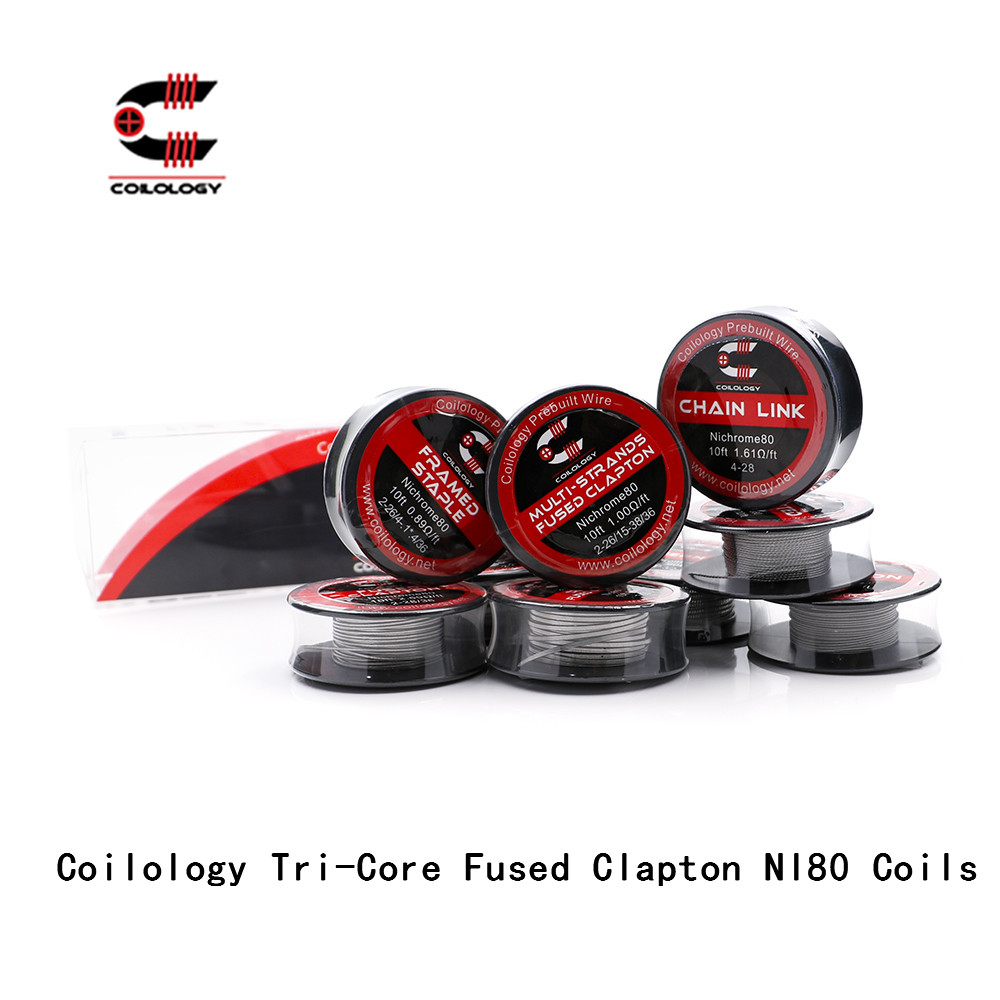 Bobines tri-core fusionné Clapton NI80 pour Cigarette électronique RDA RBA fil pré-construit chauffage bobine de diamètre intérieur 3.0mm