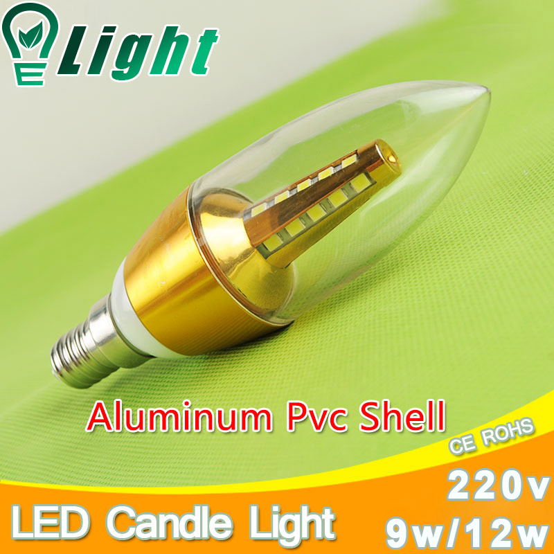 Candle LED Bulb E14 5w 7w Aluminum Shell E14 LED Light Lamp 220V Golden Silver Cool Warm White Ampoule Lampara Led candela velas candle led bulb e14 9w 12w aluminum shell e14 led light lamp 220v golden silver cool warm white ampoule lampara led smd 2835