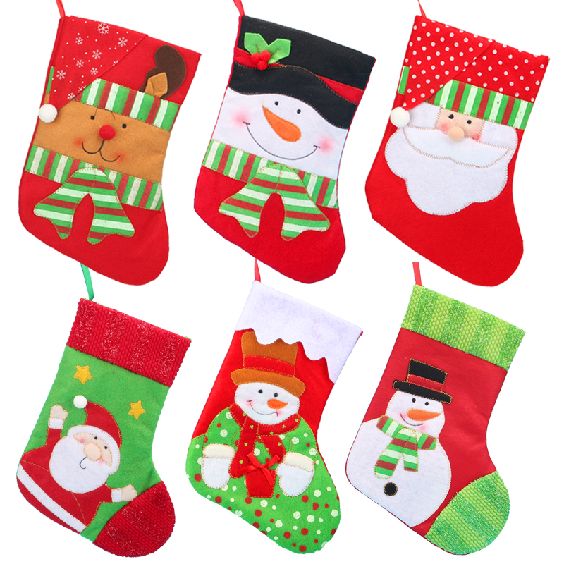NEW 1PC Christmas Stockings Hanging Christmas Tree Decoration Ornaments New Year Candy Bag Gifts Socks Stocking Xmas Ornament