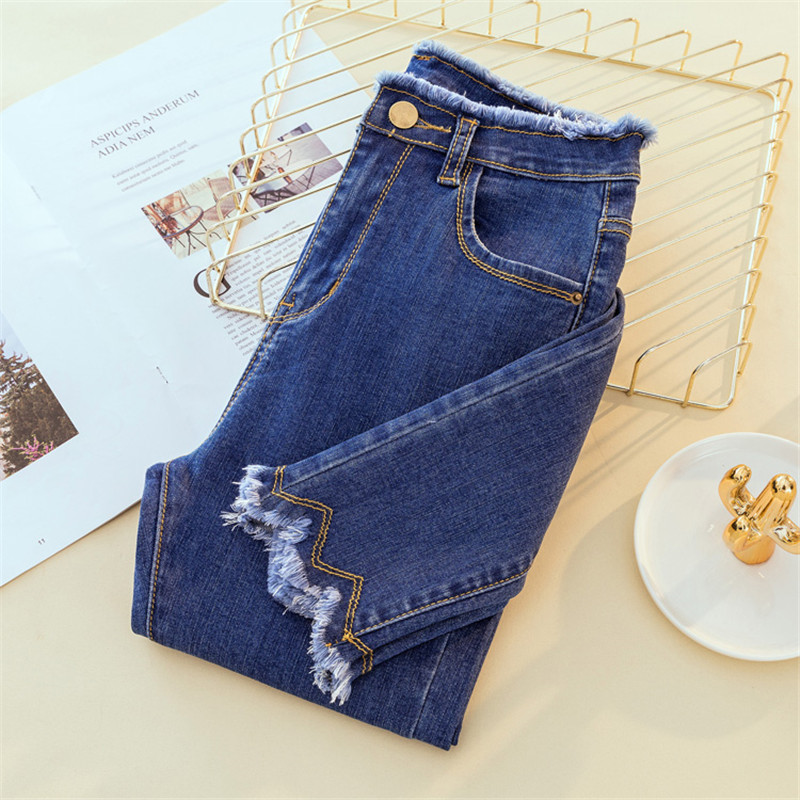Plus Size Womens Jeans Blue Skinny Stretch Jeans Ripped Denim Pant High Waist