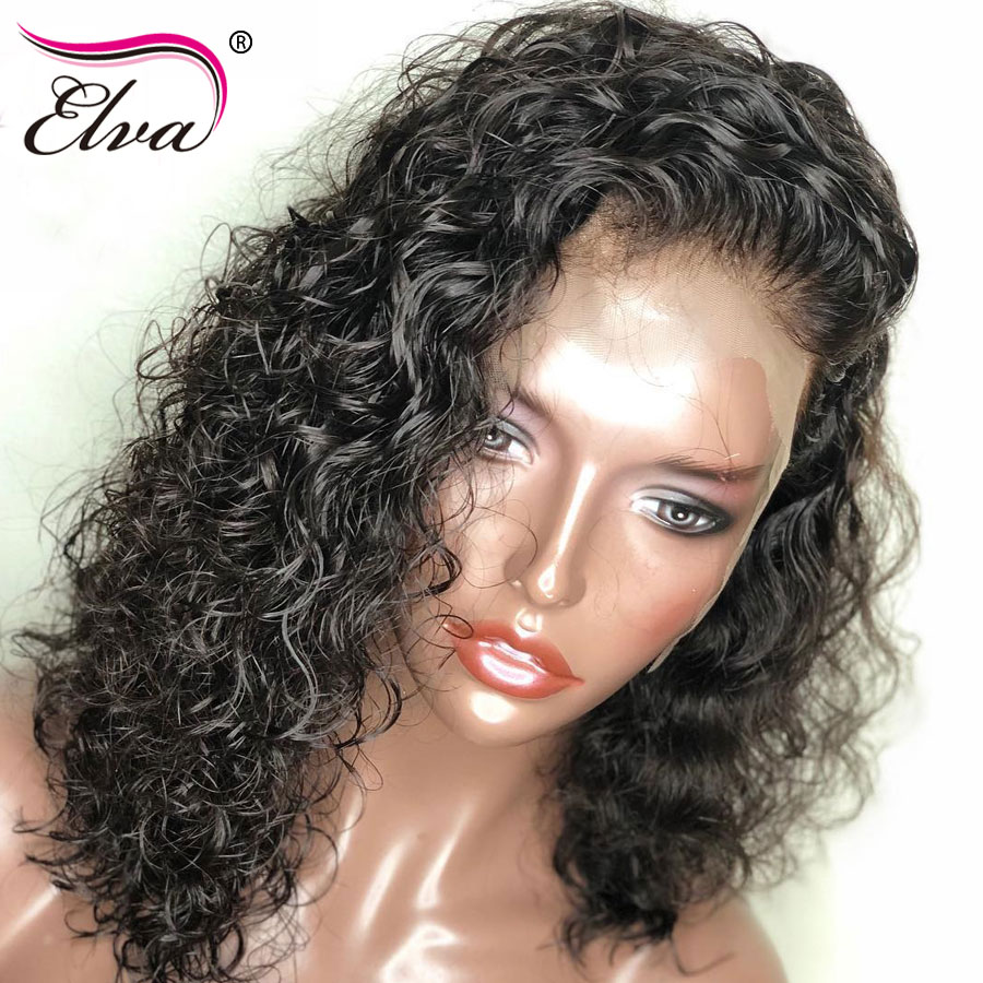 Court Full Lace Perruques de Cheveux Humains Brésiliens Bouclés Full lace Perruques Pré Pincées Avec Bébé Cheveux Noeuds Blanchis Elva Remy cheveux 10-18''