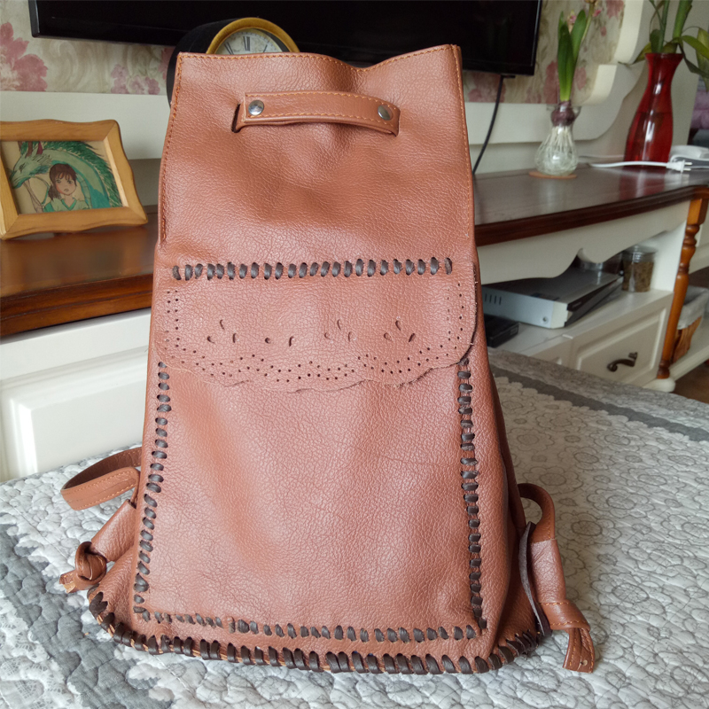 Handmade Women's Backpack 100% Genuine Cow Leather Embossed Brown Vintage Hollow Knitting Casual Shoulder Bag Female Backpacks vintage casual handmade 100
