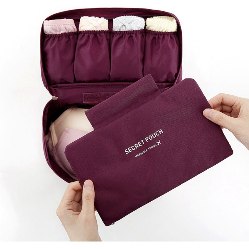 USDROPSHIP Portable Women Makeup Bag Travel Bra Underwear Organizer Bag Cosmetic Daily Supplies Toiletries Storage Bra Bag case