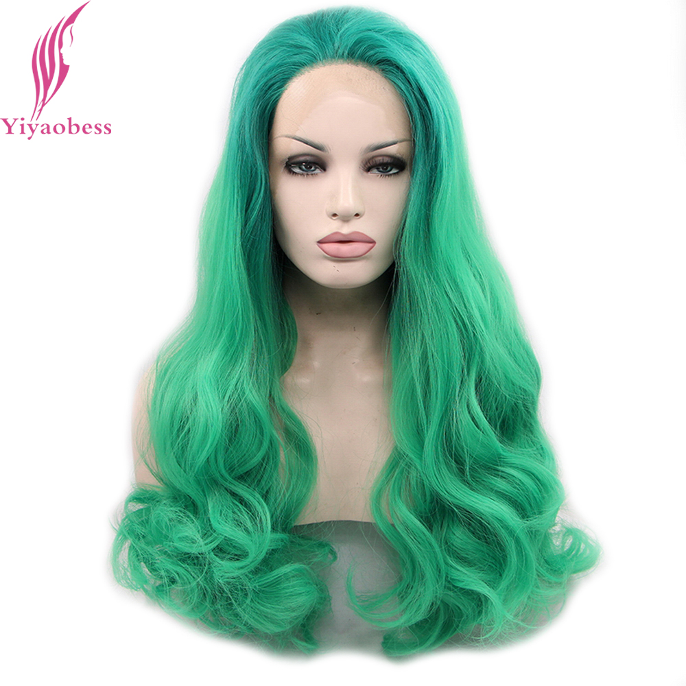 Yiyaobess Green Ombre Lace Front Wig Synthetic Glueless Heat Resistant Cosplay Hair Long ...
