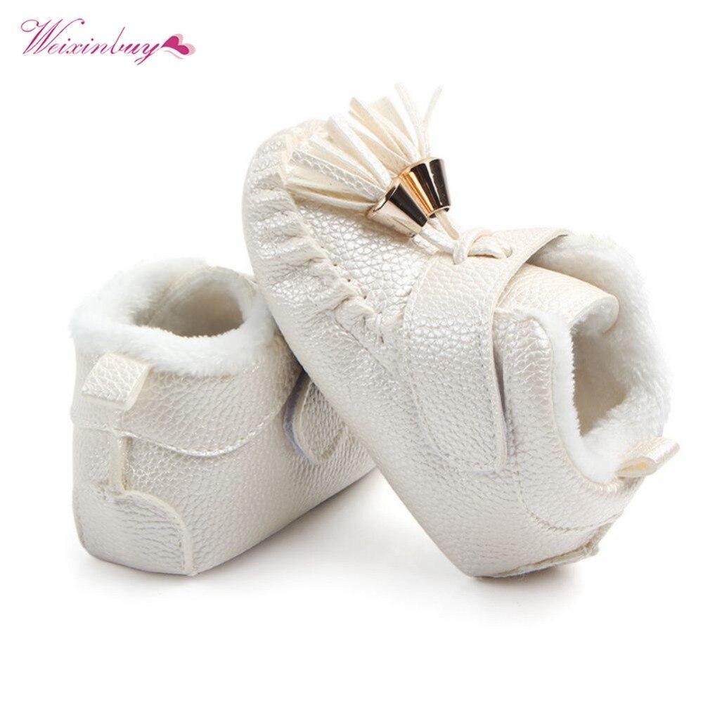 WEIXINBUY Princess PU Suede Leather Newborn Baby Boy Girl Baby Moccasins Soft Shoes Fringe Soft Soled Non-slip Fringe Shoes