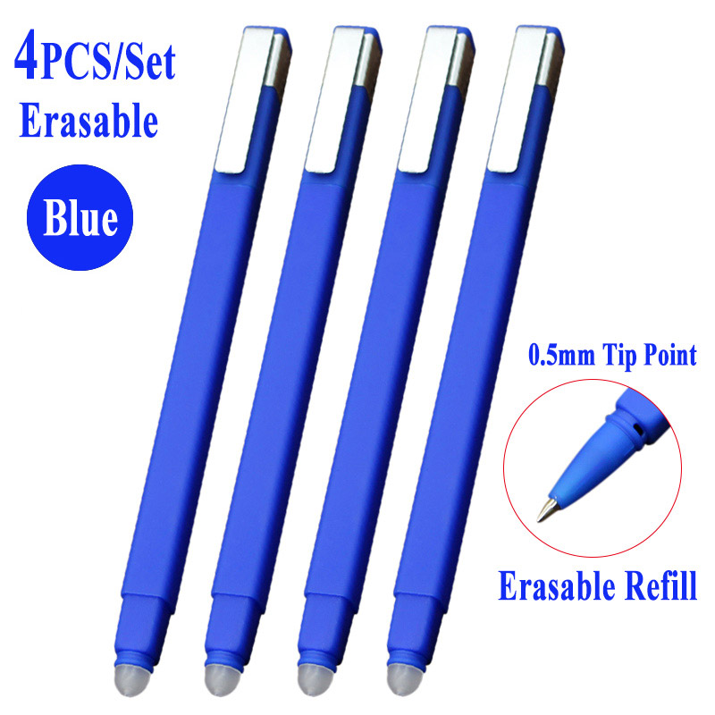 4Pcs set 0 5mm Erasable Gel Ink Pen Magic Erasable Pen Blue Black Ink Office School Writing Supply Student Stationery Study Tool in Gel Pens from Office School Supplies
