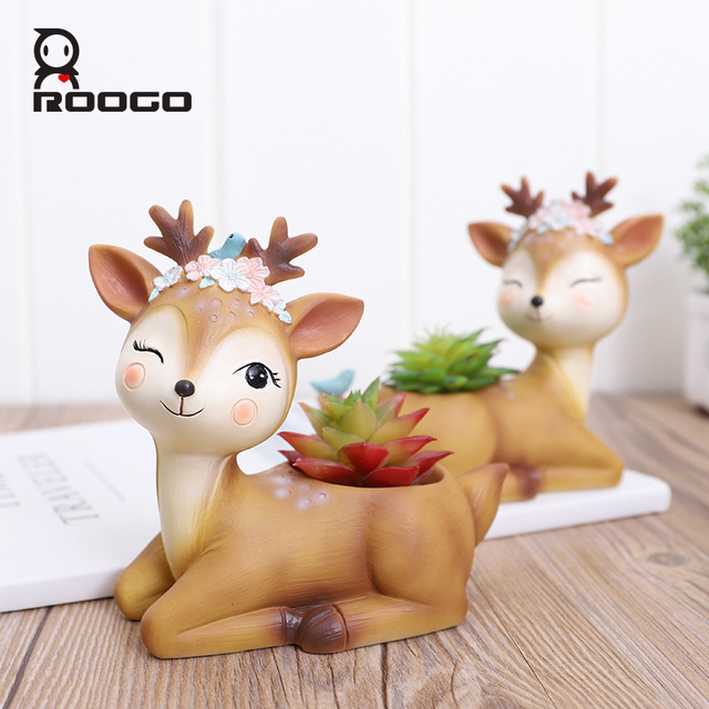 Roogo 植木鉢家の装飾アクセサリー置物多肉植物ポットバルコニー現代のマルチ鹿 annimal 樹脂工芸
