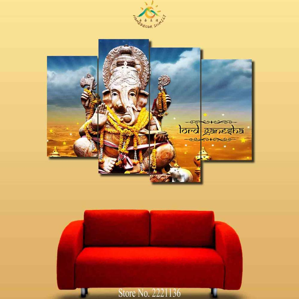 3 4 5 Pieces Ganesh Elephant Buddha Pictures Poster Modern Wall Art ...