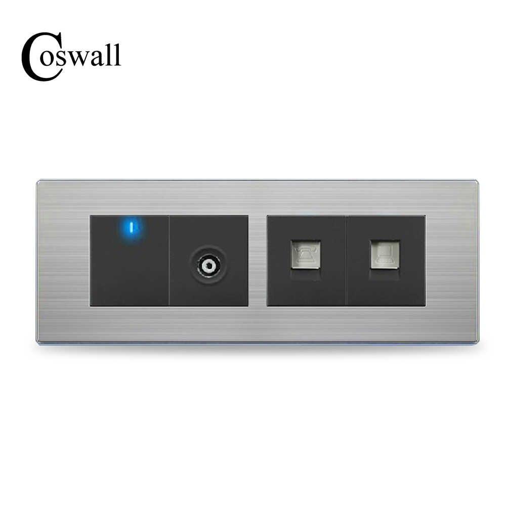 ad20ba5a80804 Coswall ТВ Порты и разъёмы + Телефонная розетка + RJ45 Интернет розетка с 1  Gang 2