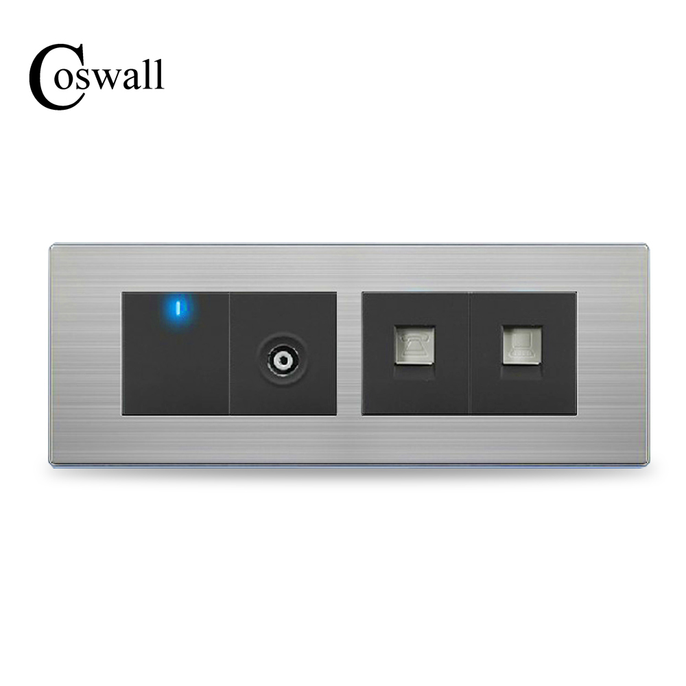 цена на COSWALL TV Port +Telephone Outlet + RJ45 Internet Socket With 1 Gang 2 Way Wall Light Switch Stainless Steel Panel 197 * 72mm