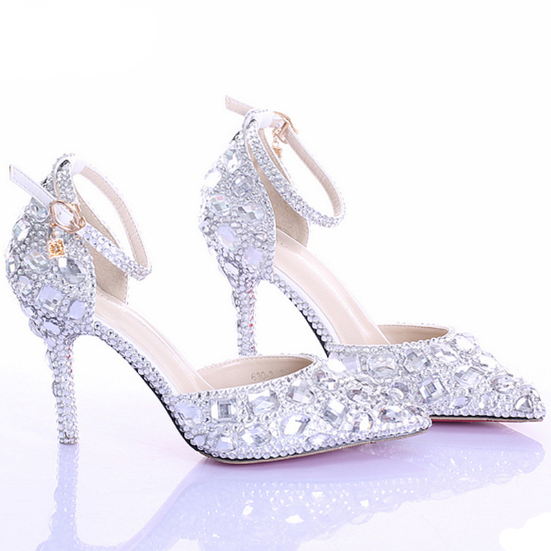 44a56b3d357 Silver Pumps AB Color Bridal Shoes Rhinestone High Heel Glitter Women Pumps  Pointed Toe Ankle Straps Wedding Shoes-in Women s Pumps from Shoes on ...
