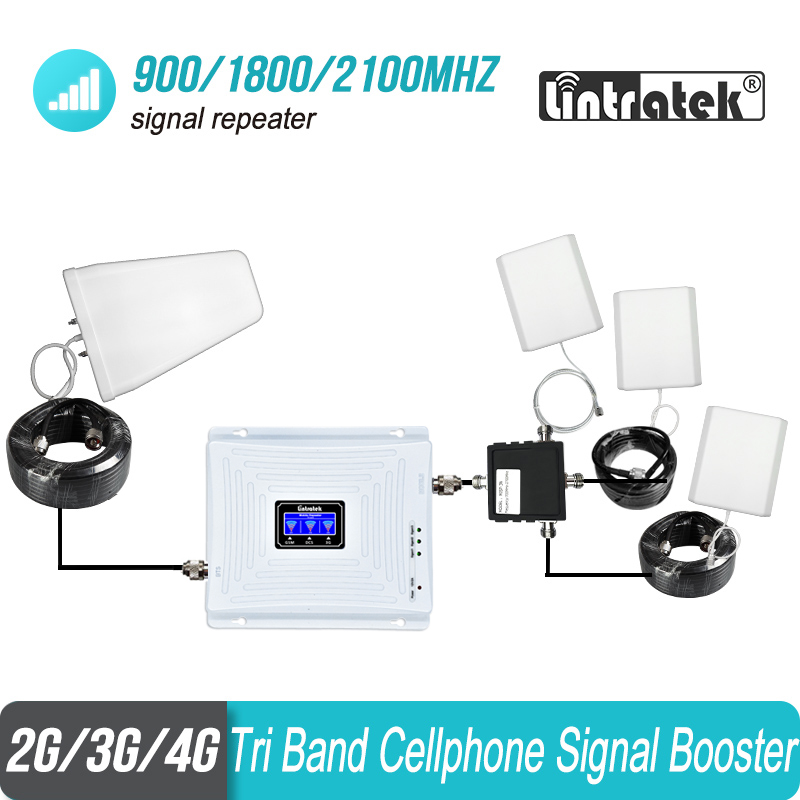 Tri Band Cell Phone Signal Repeater 2G 3G 4G 900 1800 2100 GSM 3 pcs Internal