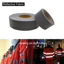 5cm width Silver Poliester Fabric Sew on Reflective Safety Jacket Warning Conspicuity Fabric