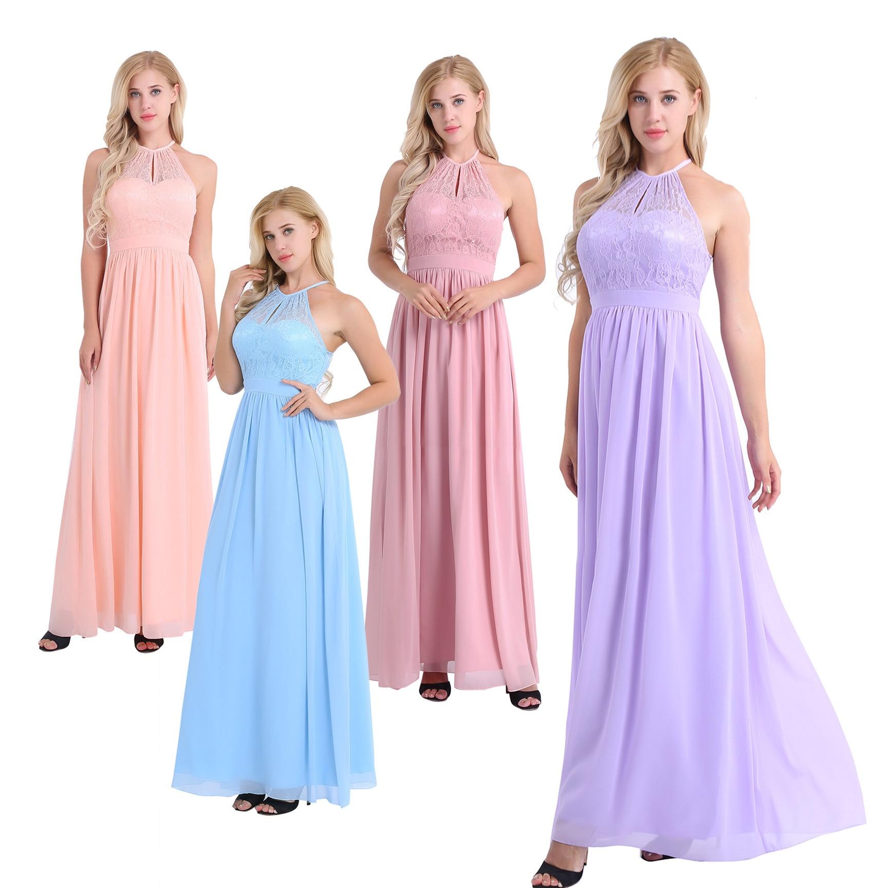 Image 2 - Women Ladies Neckline Halter Lace Floral Sleeveless Chiffon Dress Elegant Birthday Party Weeding Prom Gown First Communion Dresschiffon dressdress elegantelegant dress -