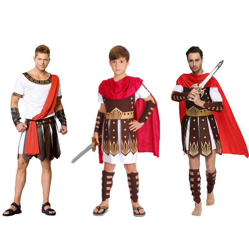 Adult Man Brave Roman Gladiator Costume Carnival Party Cool Warrior Fancy Outfit