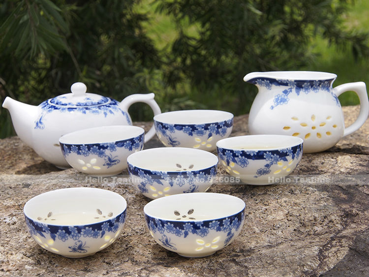 Blue And White Porcelain Tea Set Chinese Dehua Ceramic