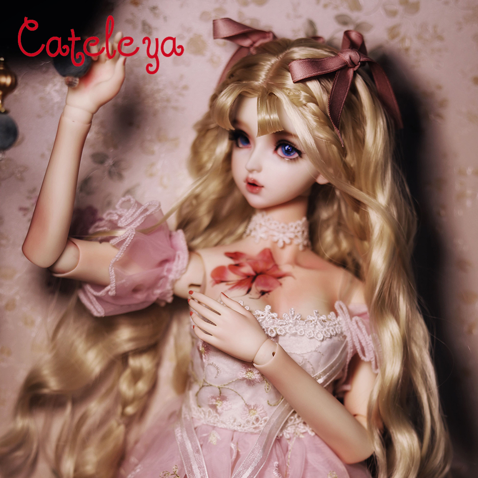 Cateleya BJD poupée fille coeur main cheveux 1/3 long rouleau double queue de cheval grande vague style cheveux poupée accessoires