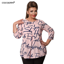 Autumn Winter Chiffon Women Blouse Plus Size Letter Print Long Sleeve Women Tops 5XL 6XL