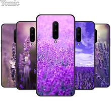 Flower purple Lavandula Black Soft Case for Oneplus 7 7 Pro 6 6T 5T Silicone Phone Case for Oneplus 7 7Pro TPU Cover Shell