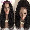 Descuento grande brasileño rizado peluca llena del cordón sin cola 8A grado 100% de la virgen del pelo humano peluca del frente del cordón con el pelo del bebé envío gratis