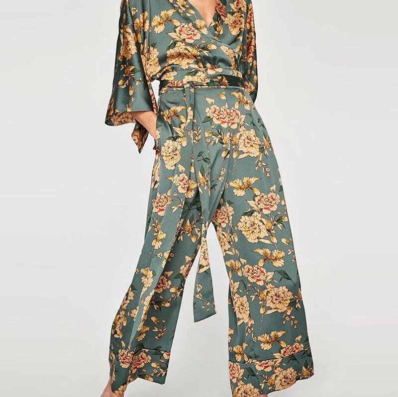 personnalisé prix le plus bas prix fou € 15.24 22% de réduction JOYINPARTY Vintage ethnique fleur imprimé Kimono  combinaisons femmes 2017, nouveau mode large pantalon ceinture décontracté  ...