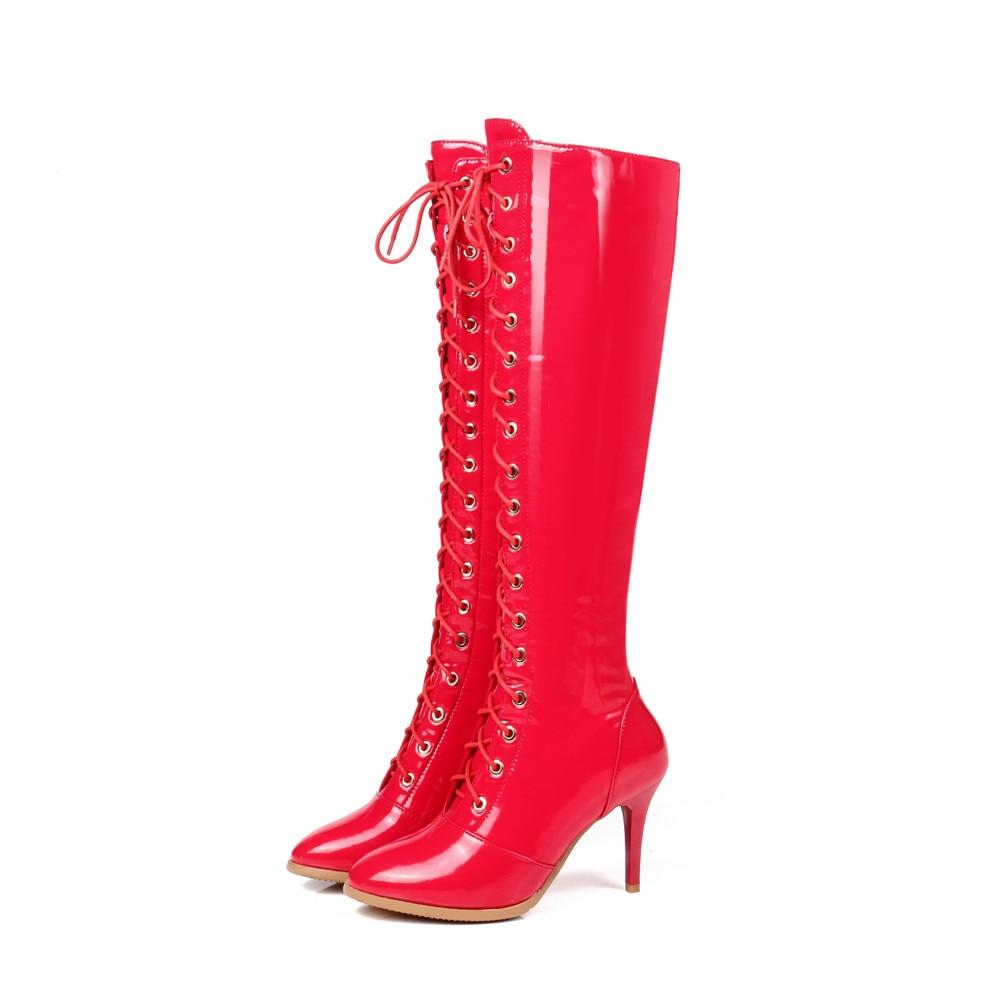 Bottes Cuisse À Haute Noir Hauts Les Hiver De Genou Talons Sur rouge Automne Au Morazora Pointu 2018 Lacets Femmes Nouvelle Mode Chaussures Fête YWxtPv4