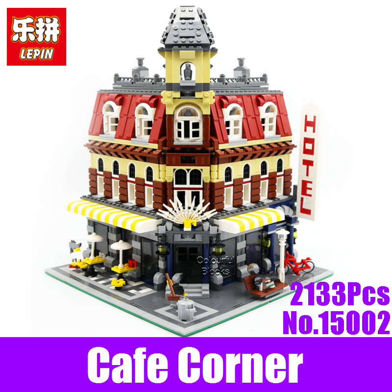 New 2133Pcs LEPIN 15002 Cafe Corner Model Building Kits Blocks Kids DIY Educational Toy For Children Gifts Brinquedos 10182 Toys super cool 115pcs set forklift trucks assembly building blocks kits children educational puzzle toys kids birthday gifts