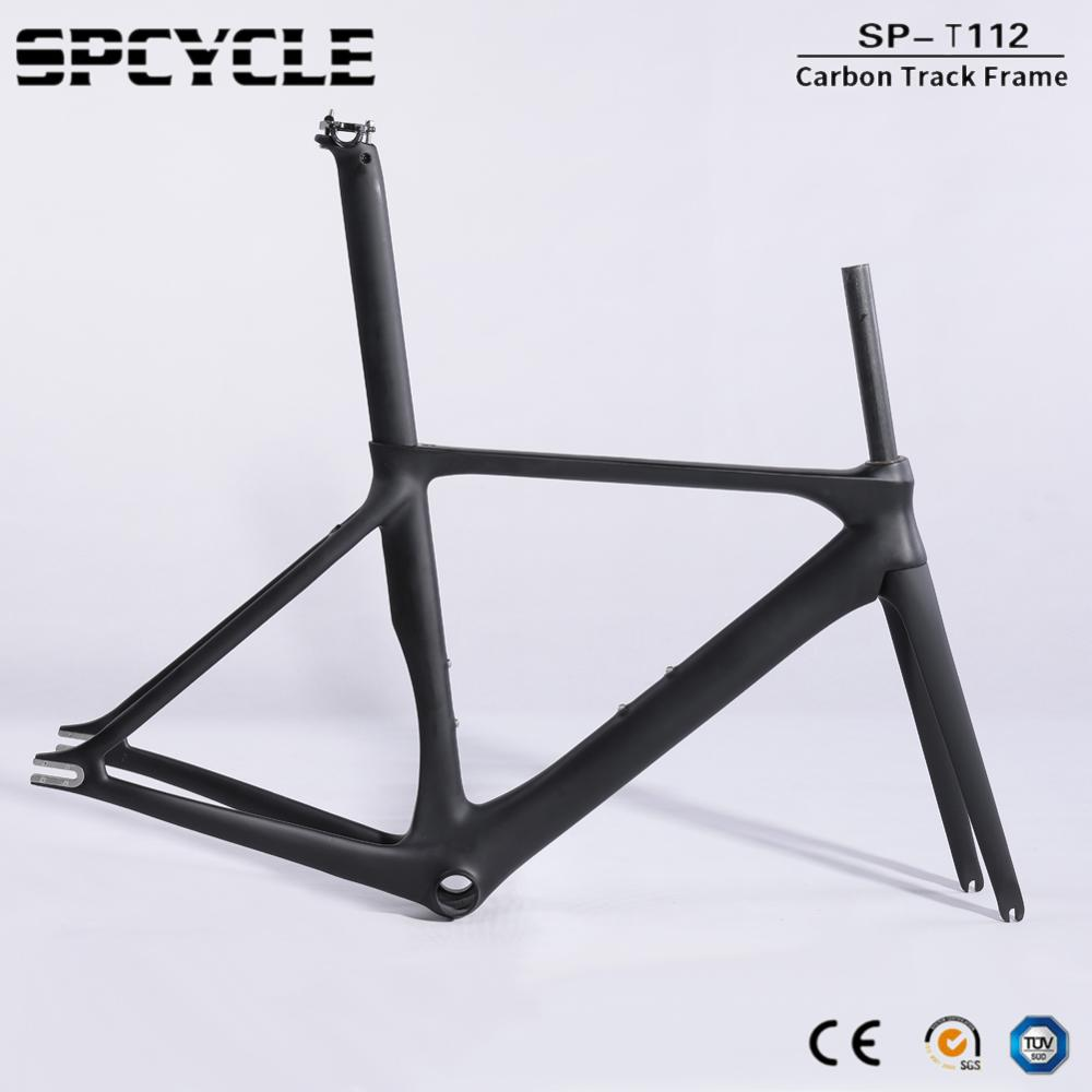 Spcycle Full Carbon Track Bike Frame 2019 New Fixed Gear Bicycle Carbon Frameset T1000 Carbon Road Bicycle Frames BB86