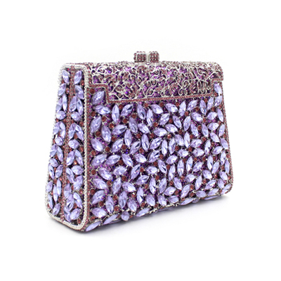 Luxury purple crystal clutch evening bag Golden party prom purse women wedding bridal pink handbag pouch soiree pochette bag luxury crystal clutch evening bag silver and champagne party purse women wedding bridal handbag pouch soiree pochette bag