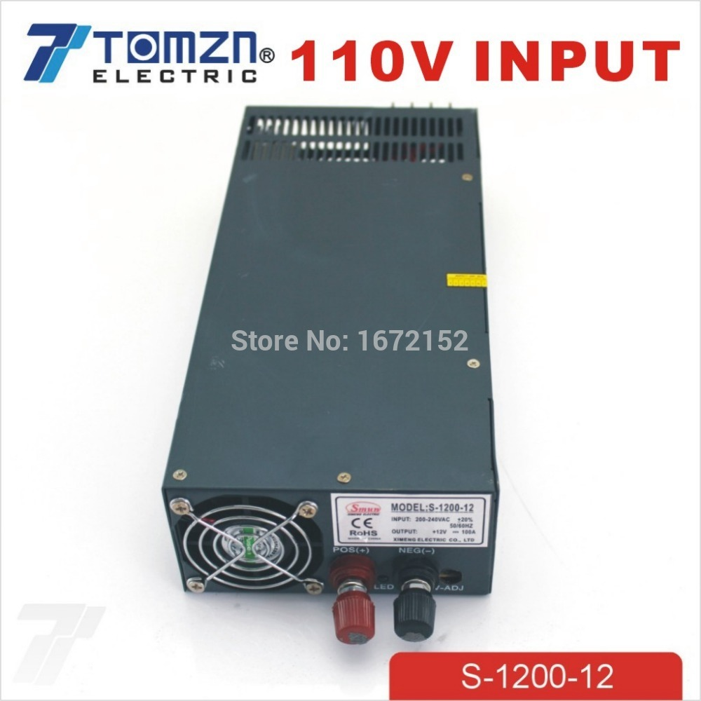 1200W 12V 100A adjustable 110V input Single Output Switching power supply for LED Strip light AC to DC