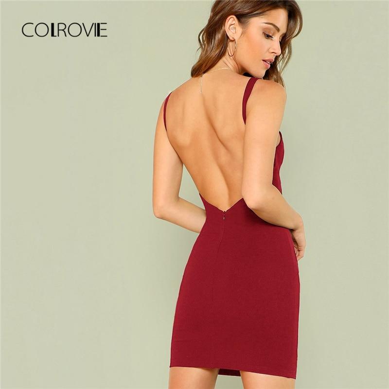 COLROVIE бордовое однотонное сексуальное платье с открытой спиной для женщин 2018, без рукавов, женские Клубные вечерние платья, облегающее вечер...