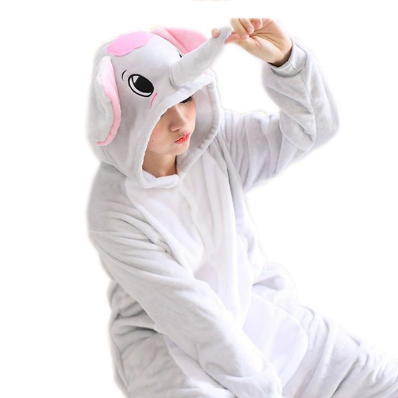 Adult Elephant Pajamas Sets Grey Pijamas Flannel Pajamas Winter Nightie Animal Pyjamas W ...