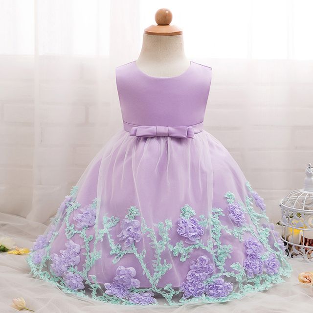 ee0f519533ba4 Flower Baby Girl Dress Baptism Dresses for Girls 1st Year Birthday Party  Wedding Christening Gown Baby Infant Clothing bebes