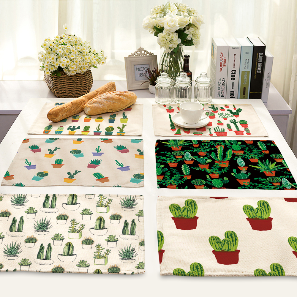 42*32cm mini cactus oil paintings Table Dinner cotton and linen Napkin Placemats For Wedding Party Home Decor Table Napkins