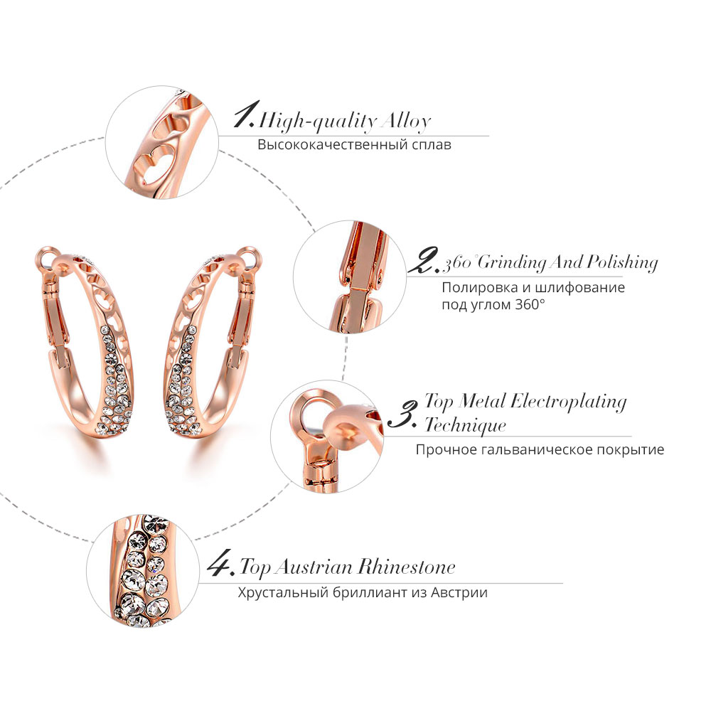 Viennois New Rose Gold Color Rhinestone Hoop Earrings for Women Hollow Out  Earrings Female Trendy Fashion Jewelry-in Hoop Earrings from Jewelry ... 4277efec7516