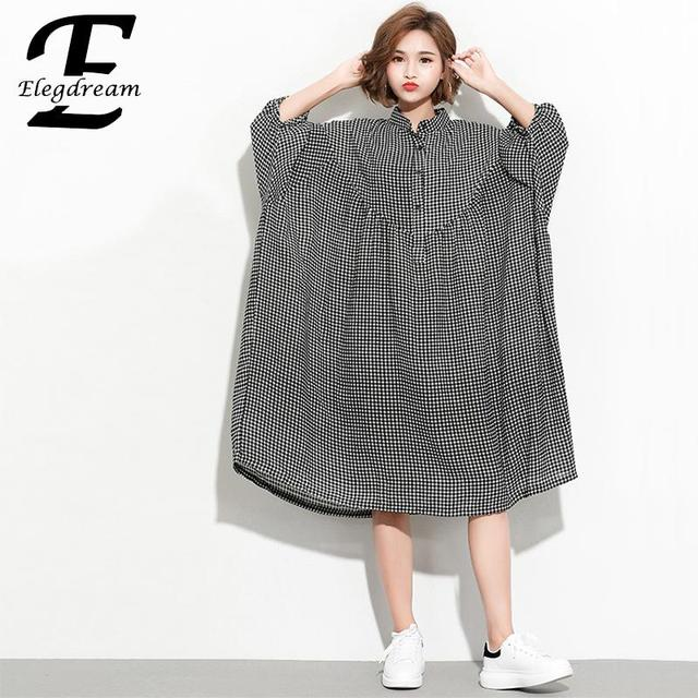 231ddd49ffe8f Elegdream Oversized Plus Size Women Plaid Shirt Blouses Ladies Casual Tops  Big Size Long Tunic Female Loose Blusas 10XL 9XL 8XL