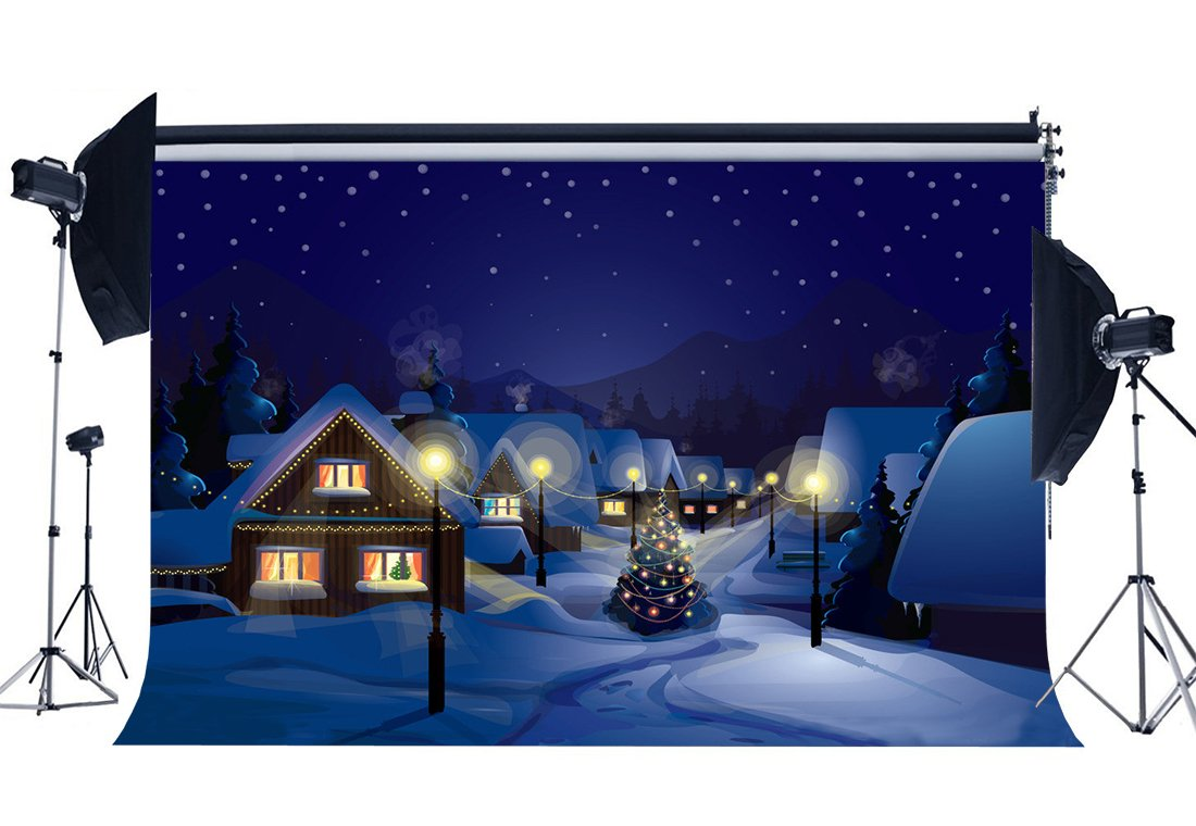 Photography Backdrop Merry Christmas Tree Rustic Village Snow Covered Landscape Scene Xmas Background-in Photo Studio Accessories from Consumer Electronics
